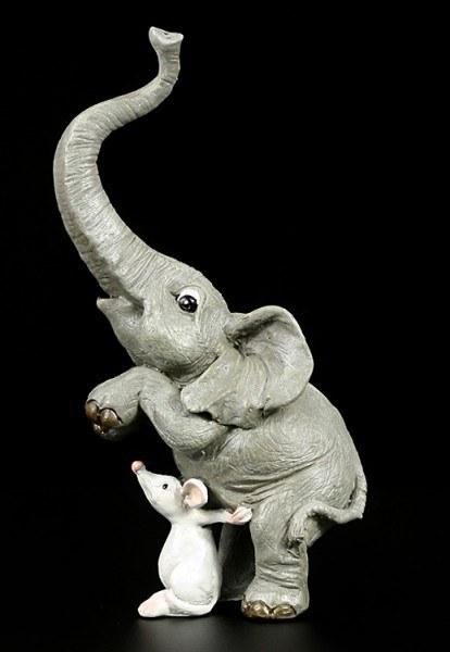 Elefanten Figur - Rüsselfant fürchtet sich vor Maus