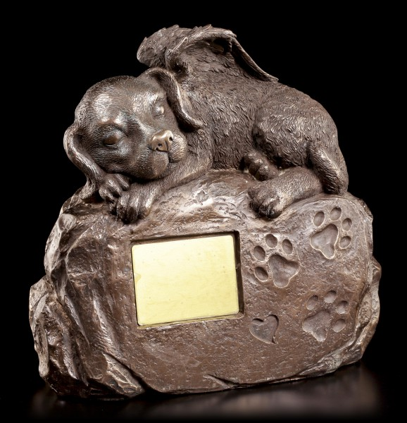 Animal Urn - Dog-Angel on Stone with Gravure Plate