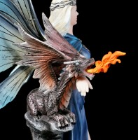 Elfen Figur mit Drache - Wächterin des Feuers
