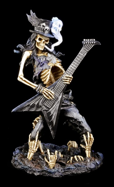 Skeleton Figurine Rocker with Guitar - Play Dead
