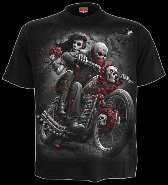 Day of The Dead Bikers - Spiral Gothic T-Shirt