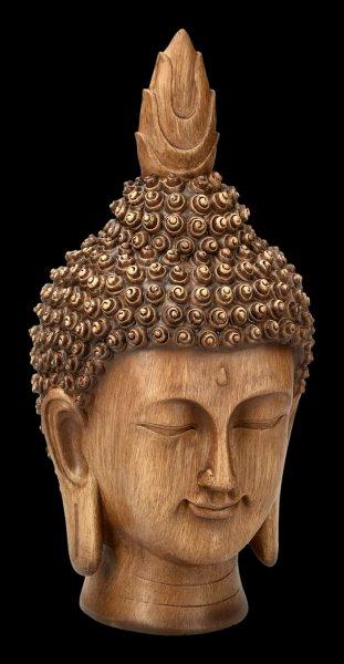Gartenfigur - Buddha Kopf in Holzoptik