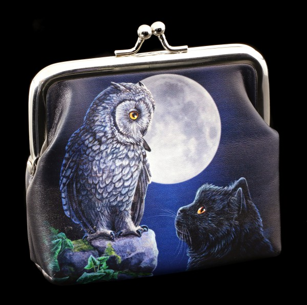 Coin Purse with Cat and Owl - Purrfect Wisdom
