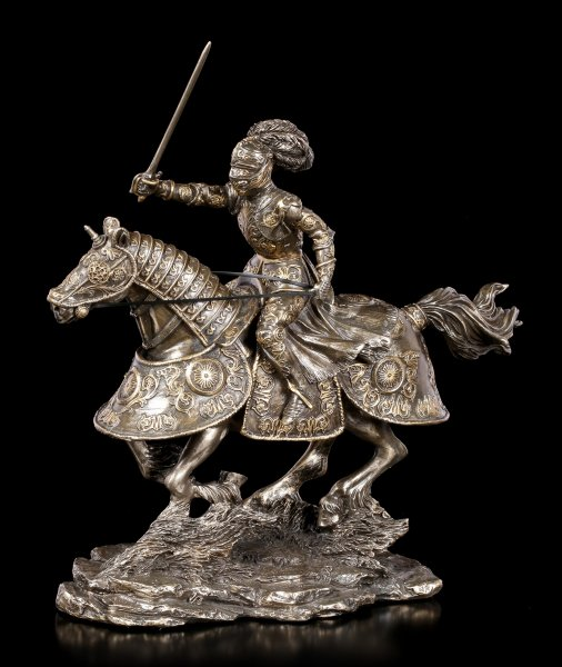 Knight Figurine on Horse with raised Sword
