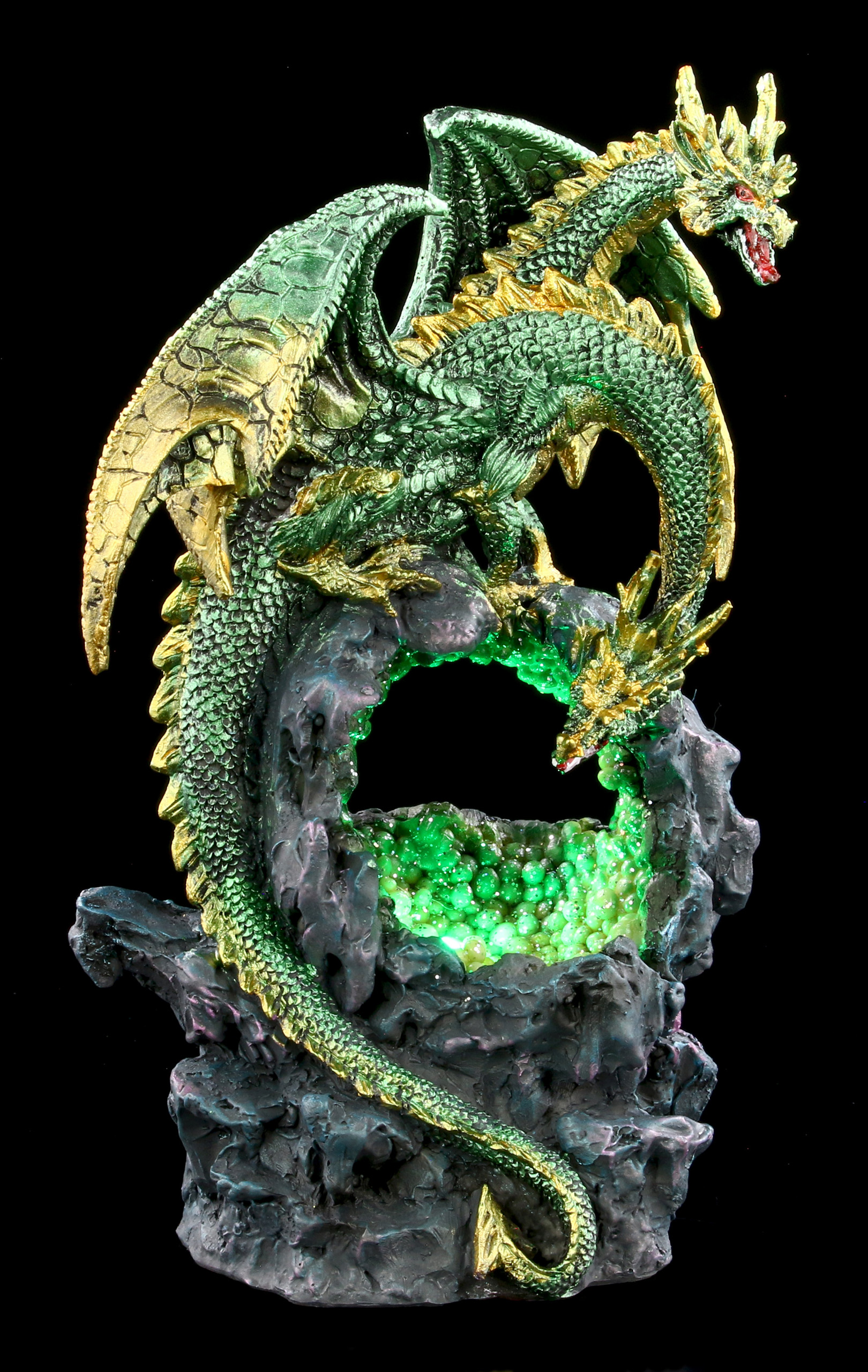 Two Headed Dragon Figurine Green with LED
