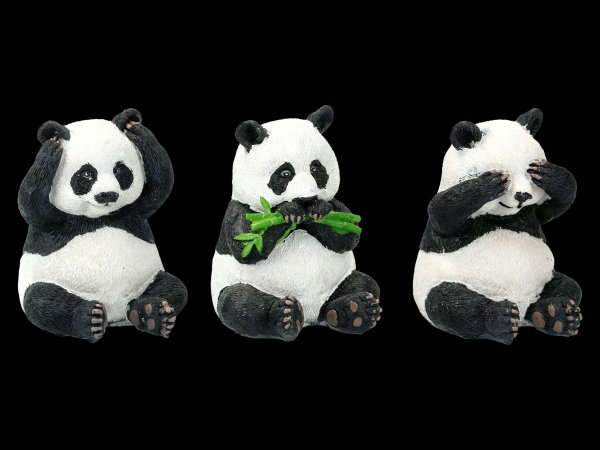 Three Wise Panda Figurines - No Evil