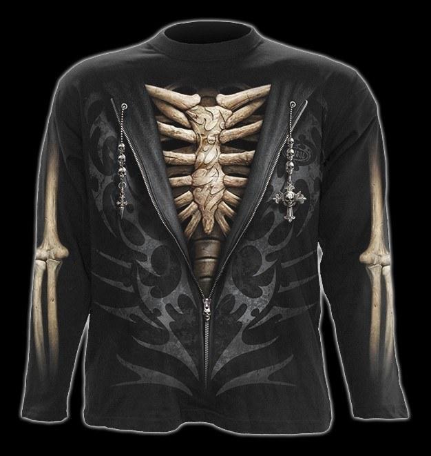 Langarmshirt - Skelett Rippen - Unzipped