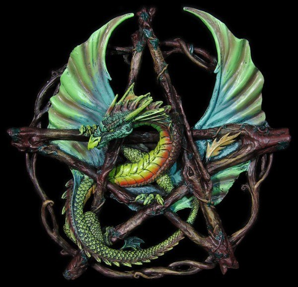 Pentagramm mit Drache Forest - Anne Stokes
