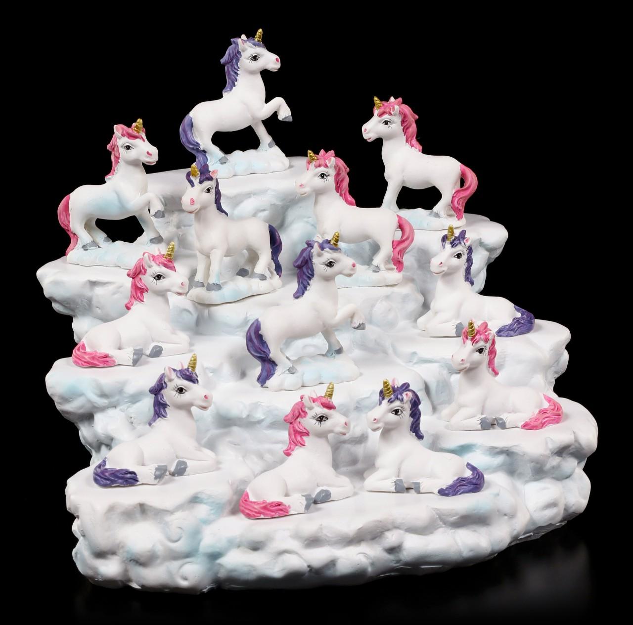 Einhorn Figuren mit Wolken Display im Set