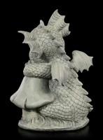 Drachen Gartenfigur - Sitzt neben Pilz
