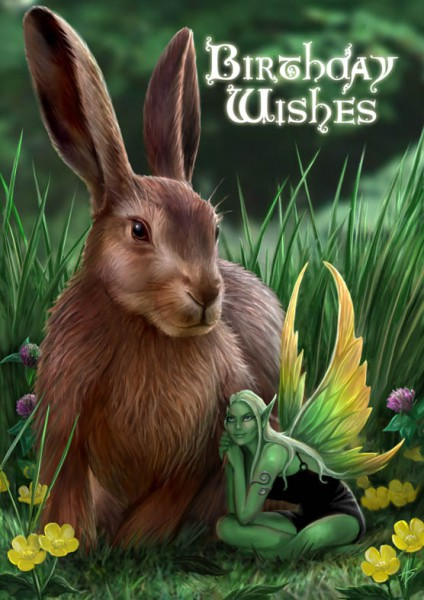 Fantasy Geburtstagskarte Hase & Elfe - Hare and Sprite