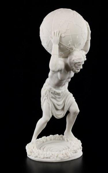 Atlas Figur mit Weltkugel - weiß