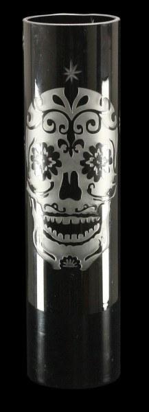 Blumenvase mit Totenkopf Gravur - Sugar Skull - groß