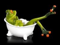 Lustige Frosch Figur in Badewanne