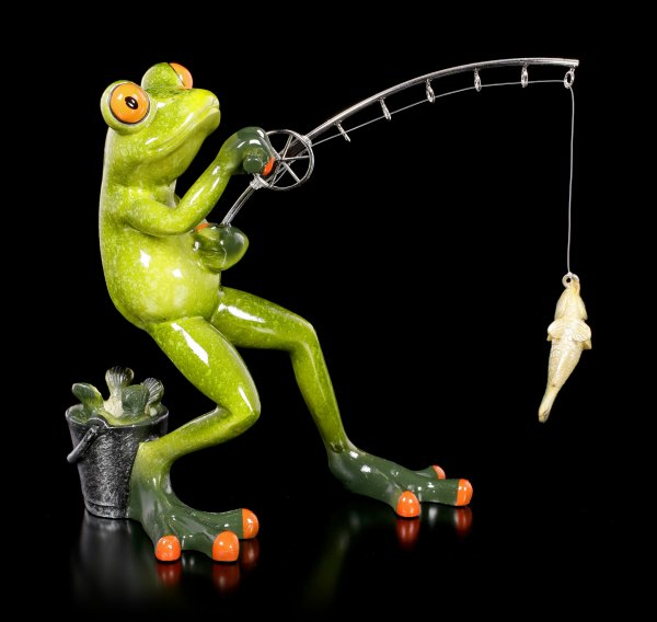 Funny Frog Figurine - Fishing