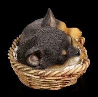 Dog in Basket Figurine - Chihuahua