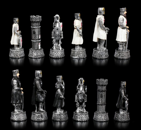 Schachfiguren Set - Kreuzritter Schwarz vs. Weiß