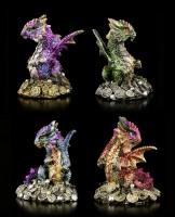 Drachen Figuren 4er Set - Glücksmünzen