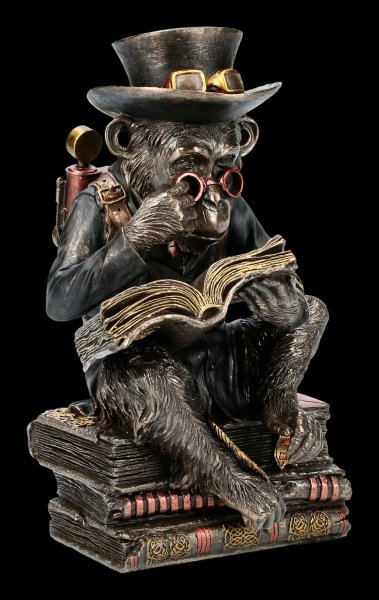 Steampunk Chimpanzee Figurine - The Scholar