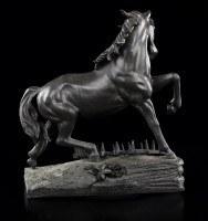 Schwarze Pferde Figur - Cheval a la Herse