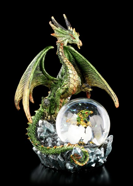 Dragon Figure with Snowglobe - Emerald Oracle