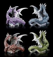 Bunte Drachen Figuren mit Glaskugel - 4er Set