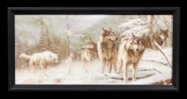 3D-Bild im Rahmen mit Wölfen - Auf der Jagd