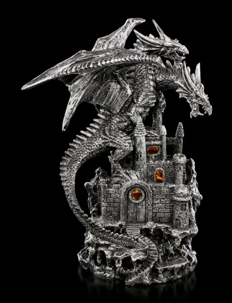 Two-Headed Dragon Figurine with LED