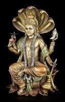 Hindu God Figurine - Vishnu - Sitting on Lotus Flower