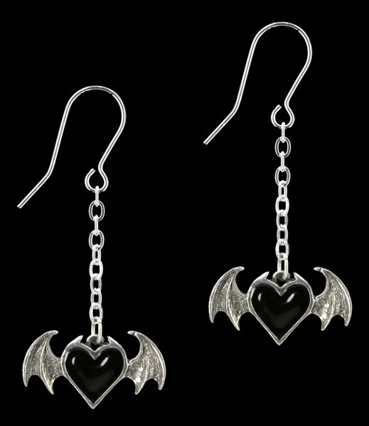 Alchemy Gothic Heart Earrings - Blacksoul