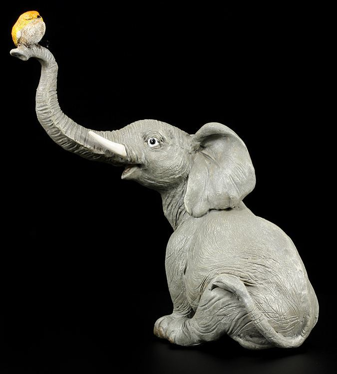 elefanten figur r sselfant mit vogel. Black Bedroom Furniture Sets. Home Design Ideas