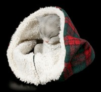 Cat Figurine asleep wrapped in Blanket