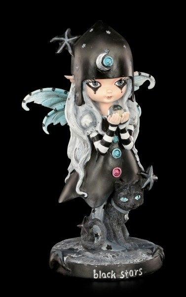 Elfen Figur mit Katze - Black Stars