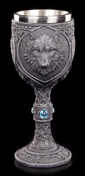 Gothic Kelch - Nacht Wolf mit blauem Diamant