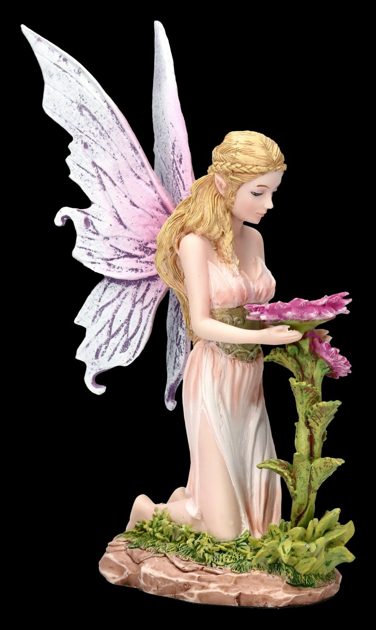 Fairy Figurine - Florina kneels in front of Flower