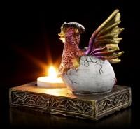Teelichthalter - Drache schlüpft aus Ei