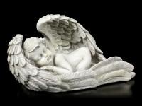 Engel Gartenfigur - Junge schläft in Flügeln - klein