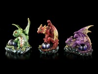 Dragon Figurines Set of 3 - Watching their Hoard