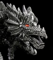 Dragon Figurine with red Eyes - Obsidian