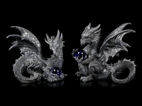 Schwarze Drachen Figuren mit Glaskugel - 2er Set