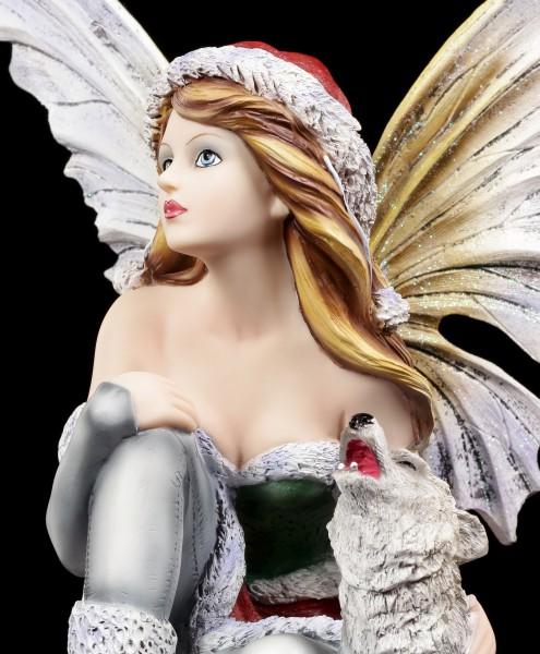 Winter Elfen Figur - Valeriana mit Wolf