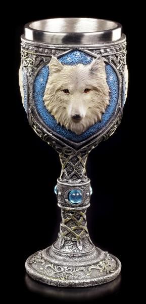 Fantasy Kelch - Einsamer Wolf mit blauem Diamant