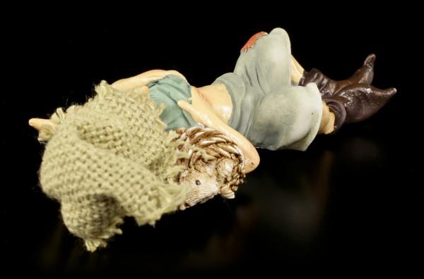 Pixie Goblin Figurine cuddling with Hedgehog - Safe Sleep