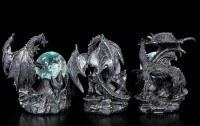 Schwarze Drachen Figuren mit LED Glaskugeln - 3er Set