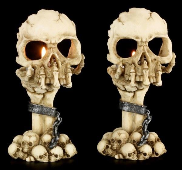 Teelichthalter - Skeletthand mit Schädel - 2er Set