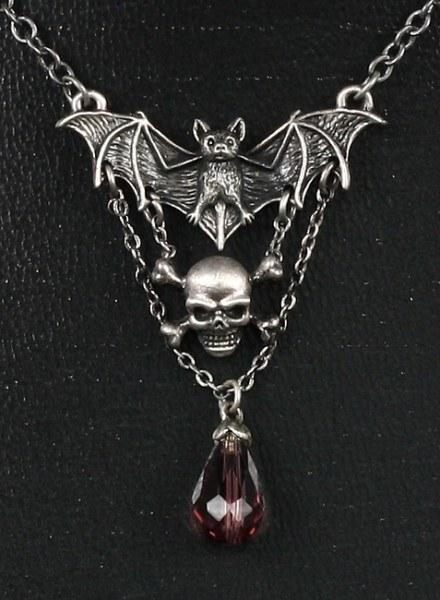 Halskette - Fledermaus und Totenkopf