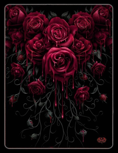 Fleecedecke Gothic - Blood Rose