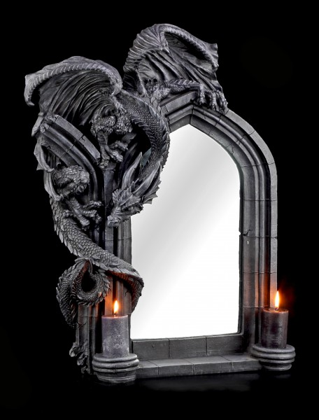 Drachen Wandspiegel mit 2-fach Kerzenhalter