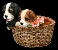 Garden Figurine - Dogs in Basket