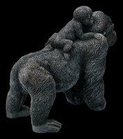 Garden Figurine - Gorilla Mother with Child